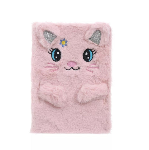 Plush Lined Notebook/Journal - Cat