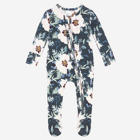 Posh Peanut Bamboo Eco Lux Ruffled Zippered Footie - Payton Floral