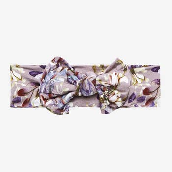 Bamboo eco friendly headband/head wrap, lavender floral designed all over with bow in the center of the headband