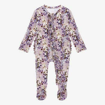 Bamboo Eco PJs, Ruffled Zippered Footie - Lavender Floral