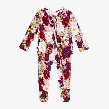Bamboo Eco PJs, Ruffled Zippered Footie - Gracie Floral