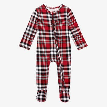 Bamboo Eco PJs, Zippered Footie - Noah Red Plaid