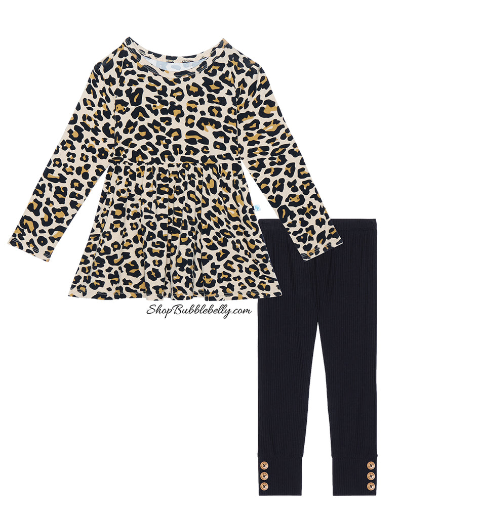 Posh Peanut Bamboo Lux Peplum Top & Leggings 2 PC Set - Lana Leopard/Black Ribbed