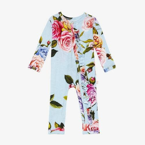 Posh Peanut Bamboo, Snap Button Coverall, One Piece - Country Rose