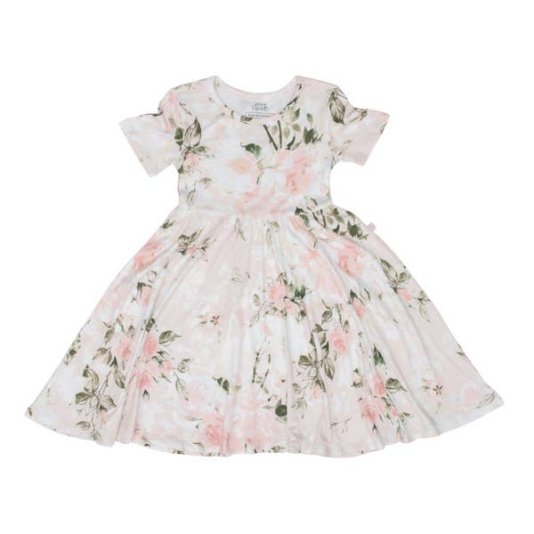 Posh Peanut Vintage Pink Rose Twirl Dress, Eco bamboo buttery soft fabric dress for girls