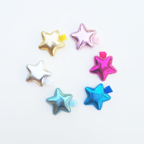 Hair Accessories, Non-Slip Handmade Hairclips, Puffy Metallic Star