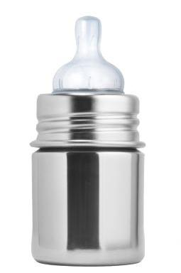 plastic-free stainless steel baby bottle, silicone nipple top, pura kiki