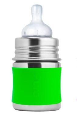 Pura Stainless Bottles - 5 oz Plastic-Free Baby Bottle, Silver w/Lime Silicone Sleeve