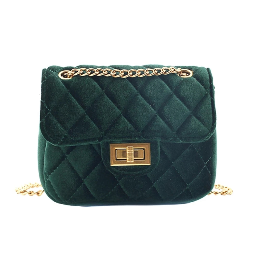 Accessories - Cross Body Velvet Quilted Mini Purse, Emerald Green