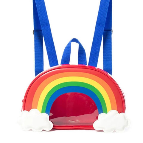 Rainbow Backpack - See Through Panel, Red