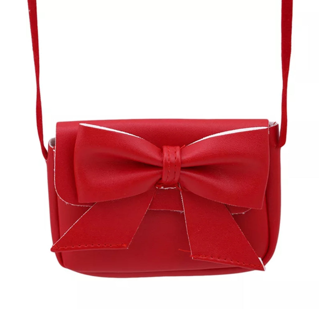 little girls mini leatherette purse, red with large bow, crossbody style