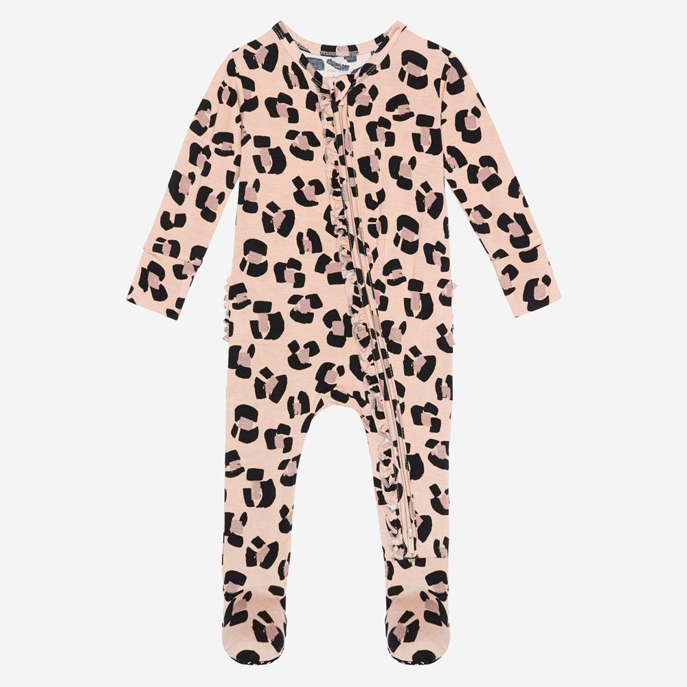 Posh Peanut Bamboo, Footie Ruffled Zippered One Piece - Sasha Leopard