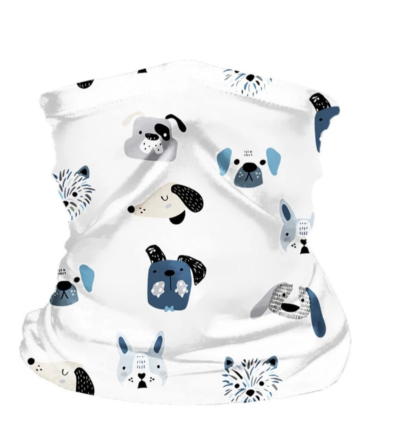 scarf style face mask for kids with filter insert, puppy print