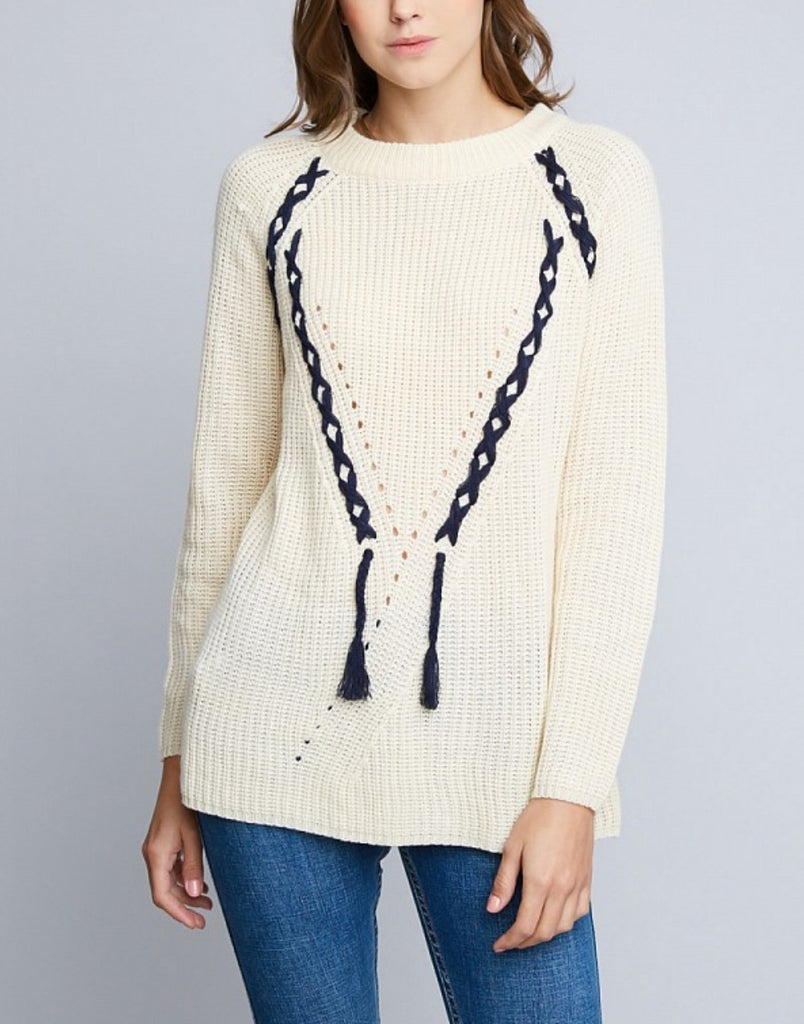 Ladies Lace Up Open Knit Sweater, Cream & Navy