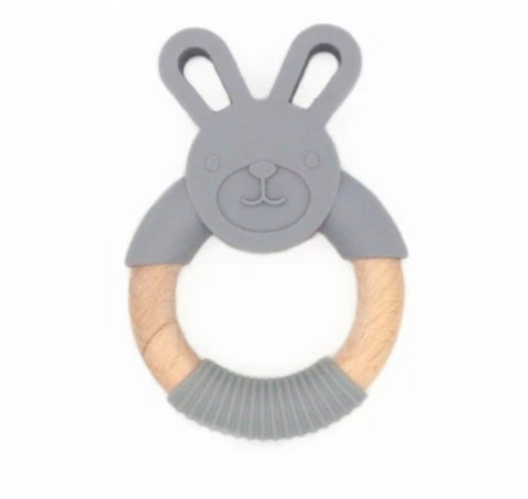 Chew/Teething Accessory - Silicone & Raw Wood Chew & Teething Ring, Grey Bunny