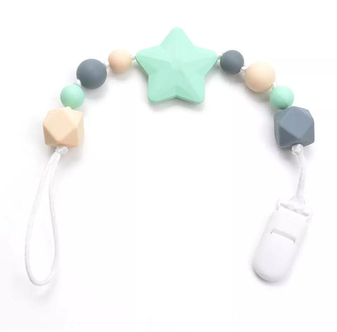 Chew/Teething Accessory - Silicone Universal Pacifier/Teether Clip, Grey/Cream w/Aqua Star