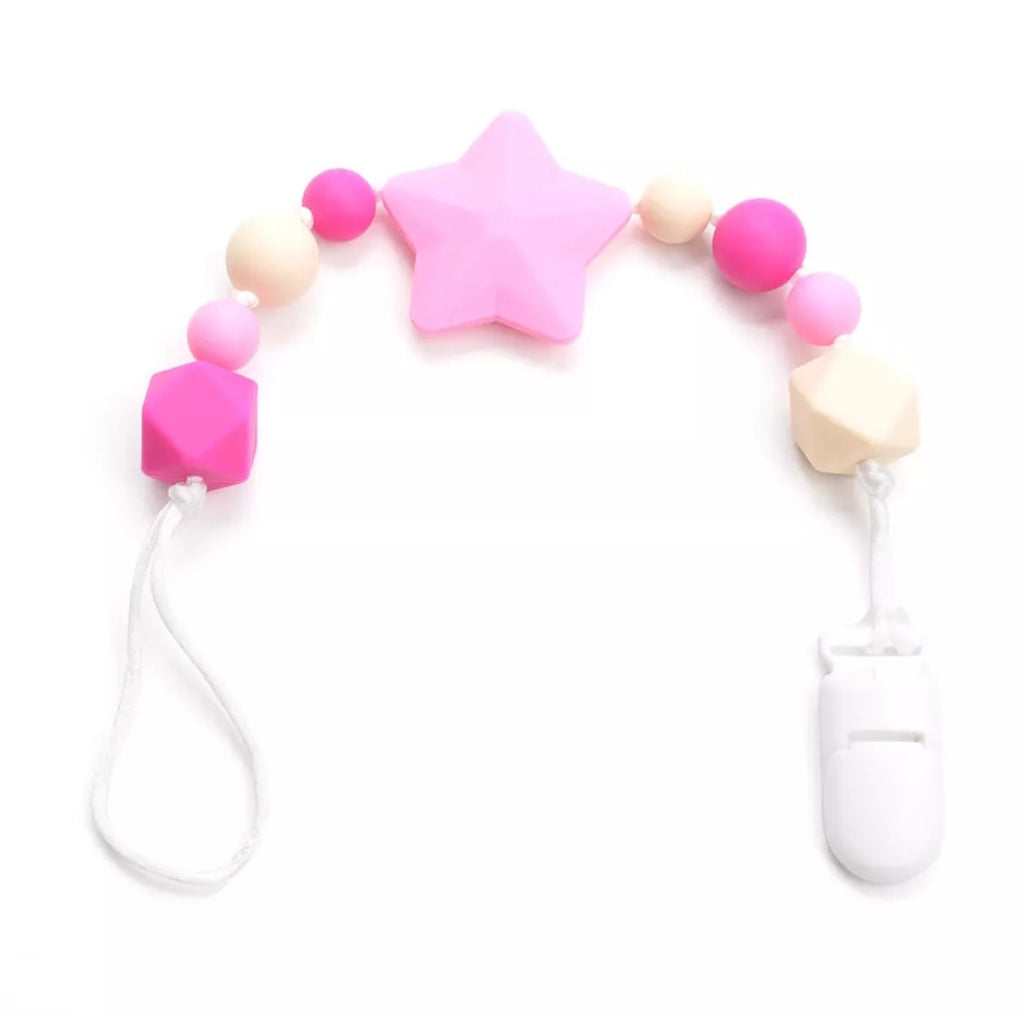 Universal silicone teether and pacifier clip, pink star