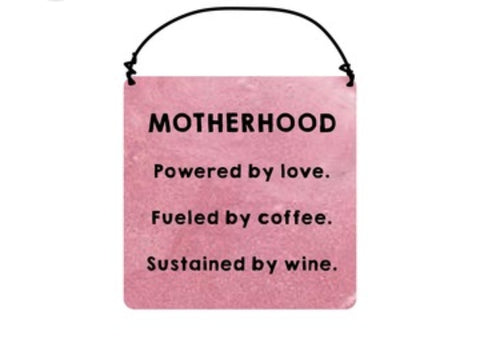 "Mom, ""Motherhood Powered By..."" Ceramic Plaque - Decor Gift"