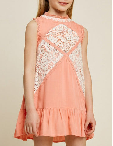 3534G Hayden Ruffled Lace Swing Dress, Coral & Off White