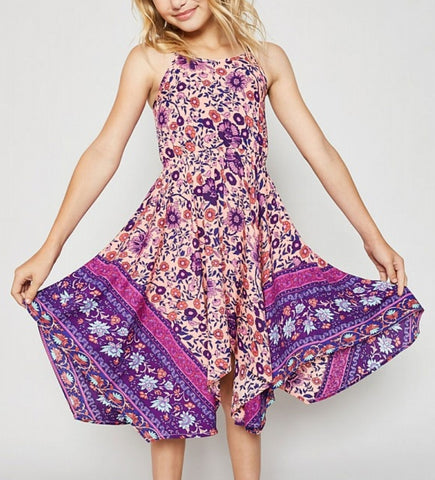 4246G Hayden Floral Cross-Back Halter Dress, Purple/Pink