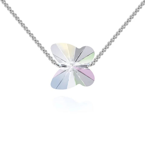 Crystal Necklace, Swarovski Pendant, Iridescent Butterfly