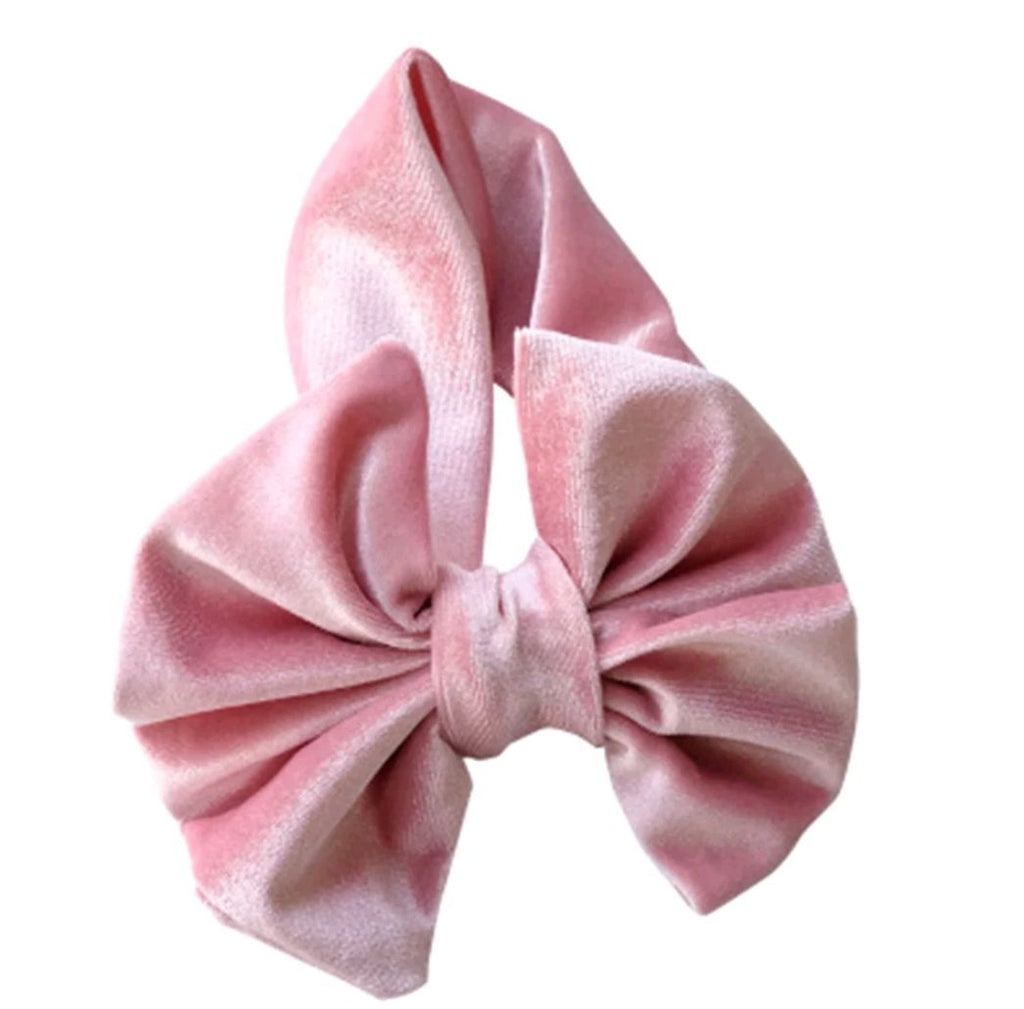 extra large velvet bow headband for infant girls, pink