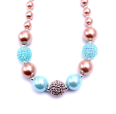 Gumball & Sparkles Bauble Necklace, Aqua & Rose Gold