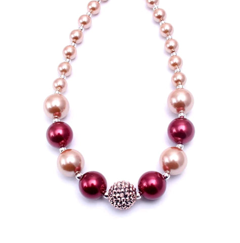 Gumball & Sparkles Bauble Necklace, Holiday Red & Rose Gold