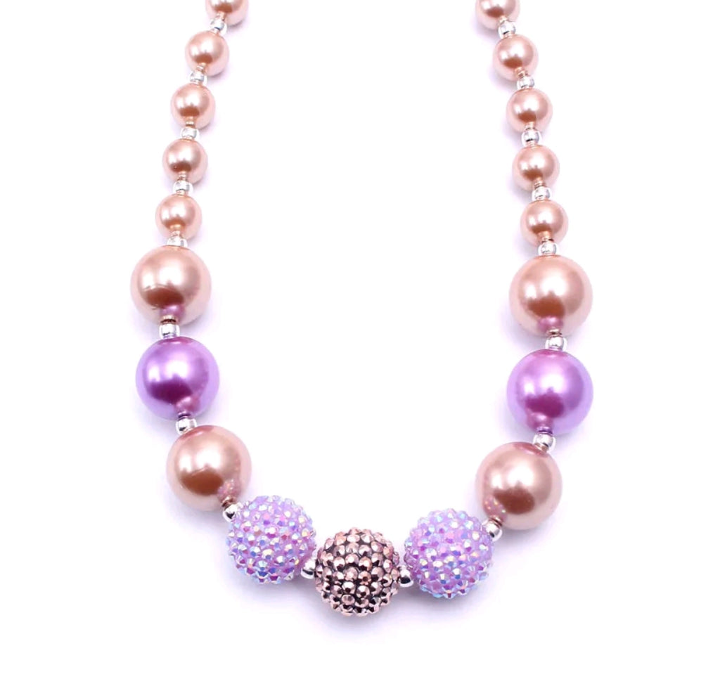 lavender and rose gold chunky necklace for kids, baubles, gumball