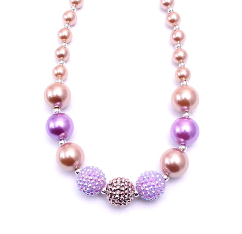 Gumball & Sparkles Bauble Necklace, Lavender & Rose Gold