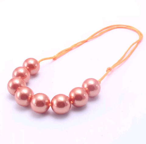 Gumball Bauble Necklace, Adjustable Length, Pumpkin Pearl