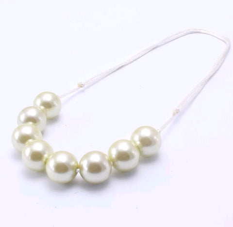 Gumball Bauble Necklace, Adjustable Length, Ivory Pearl