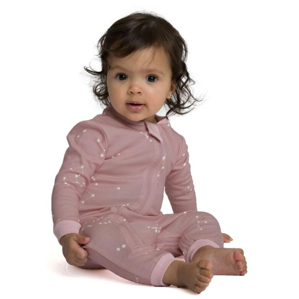 Organic cotton footie pajamas, pink galaxy, zippyjams