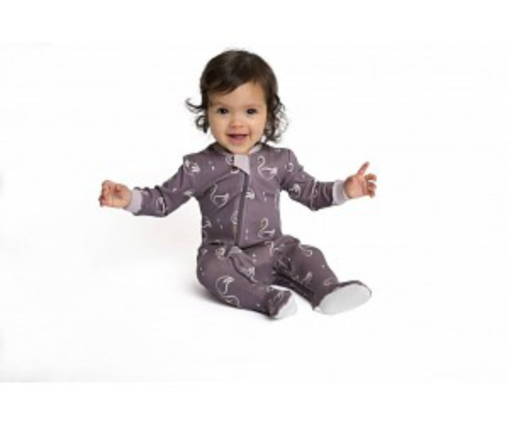 organic cotton zippered footie pajamas, purple swan, zippyjams