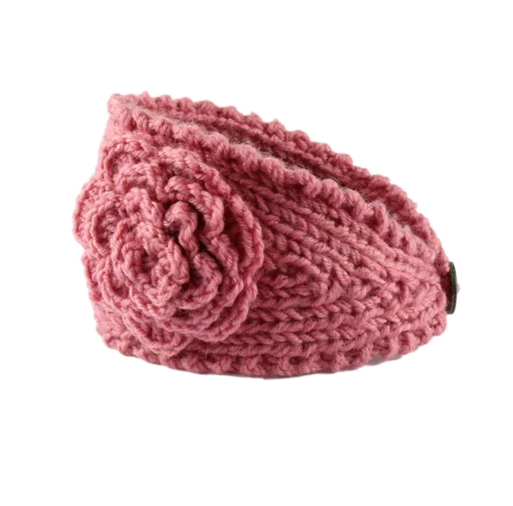 rose pink knit flower headband and ear warmer for kids and moms