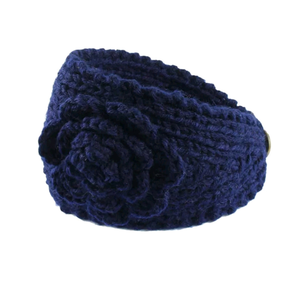 navy blue knit floral headband and ear warmer.for girls and adults