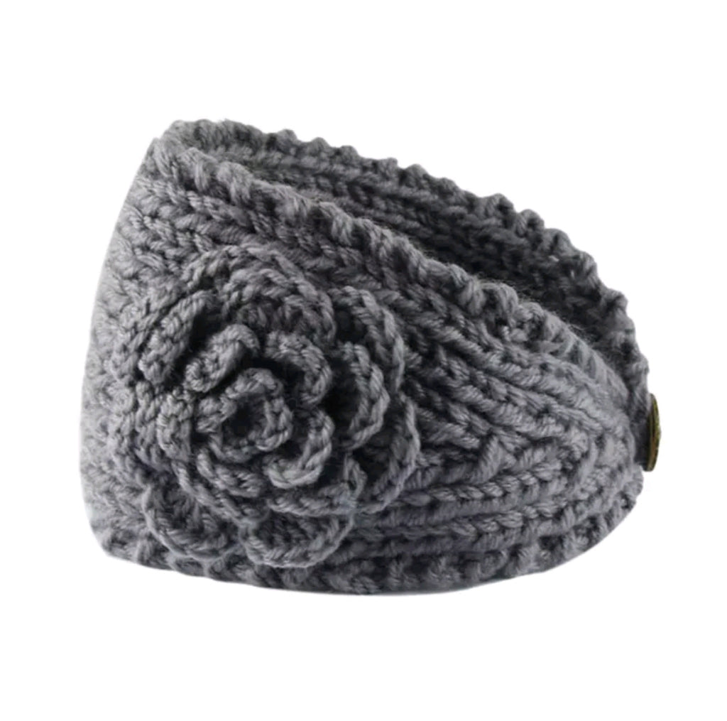 knit headband with flower, grey knit ear warmer for girls and adults