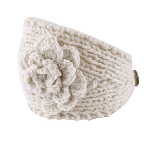 Handmade Knit Flower Headband & Ear Cover - Oatmeal
