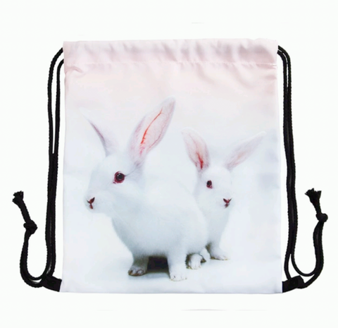 "Washable Canvas Drawstring Backpack/Bag, 15""H x 13""W, White Bunnies"