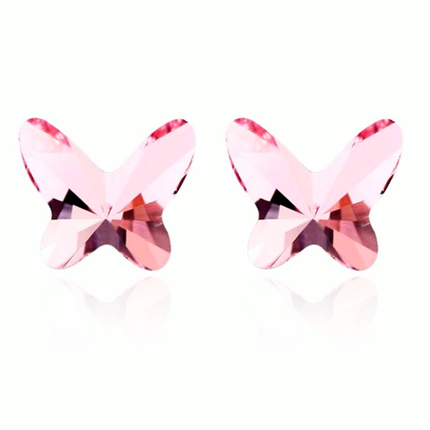 Austrian Crystal, Swarovski Elements Butterfly Kids Earrings, Pink