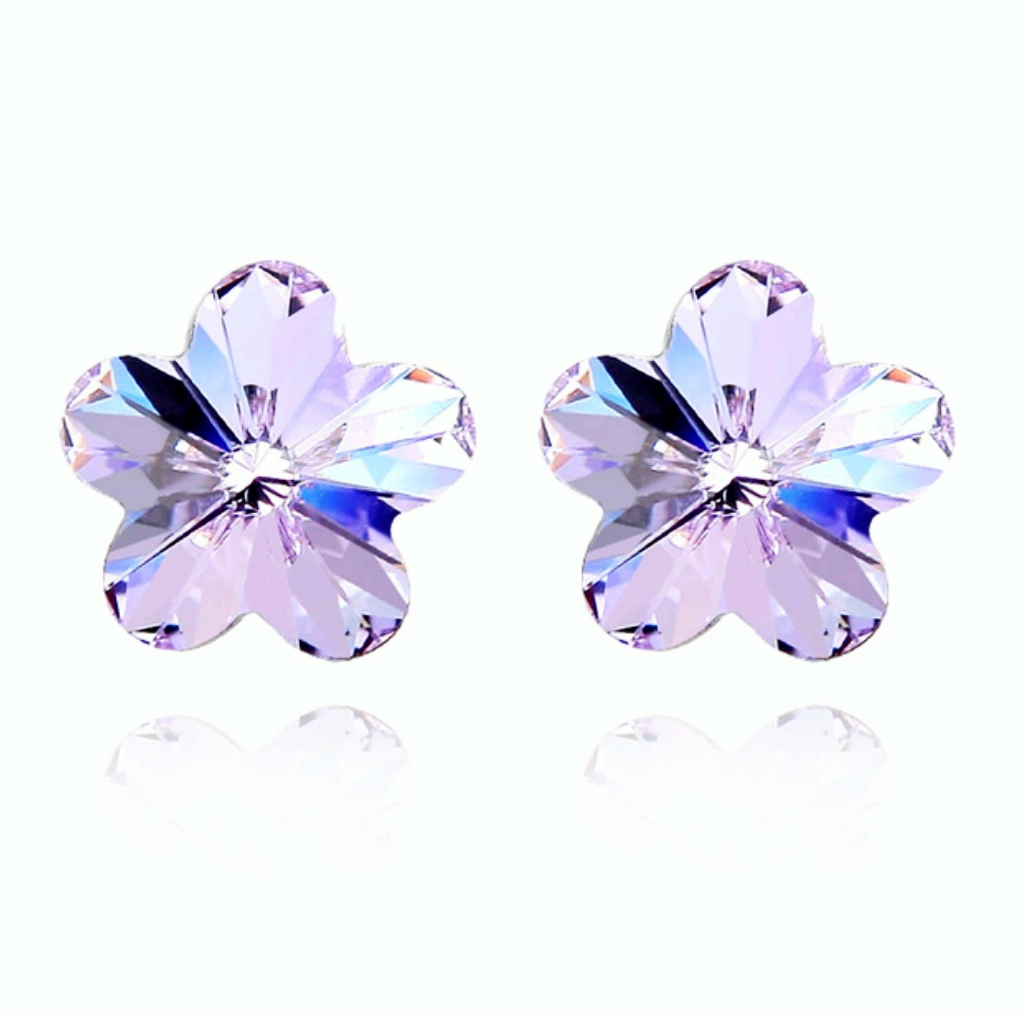 Little girls pierced earrings.  Swarovski crystal jewelry for kids.  Purple flower.