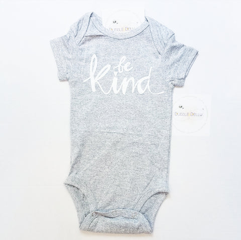 Be Kind, Onepiece Snap Bodysuit, Grey