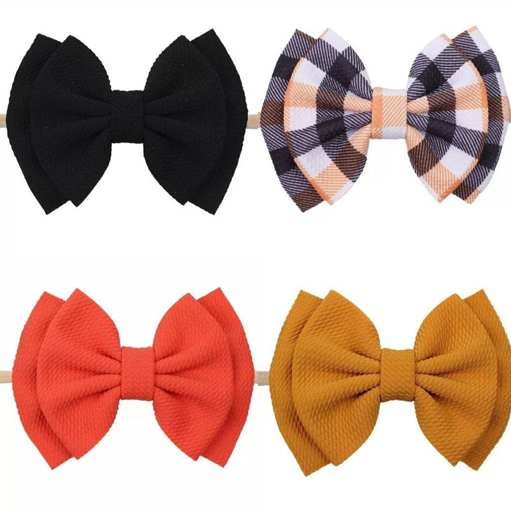 6 inch large bow nylon headbands for baby girls, halloween colors, fall