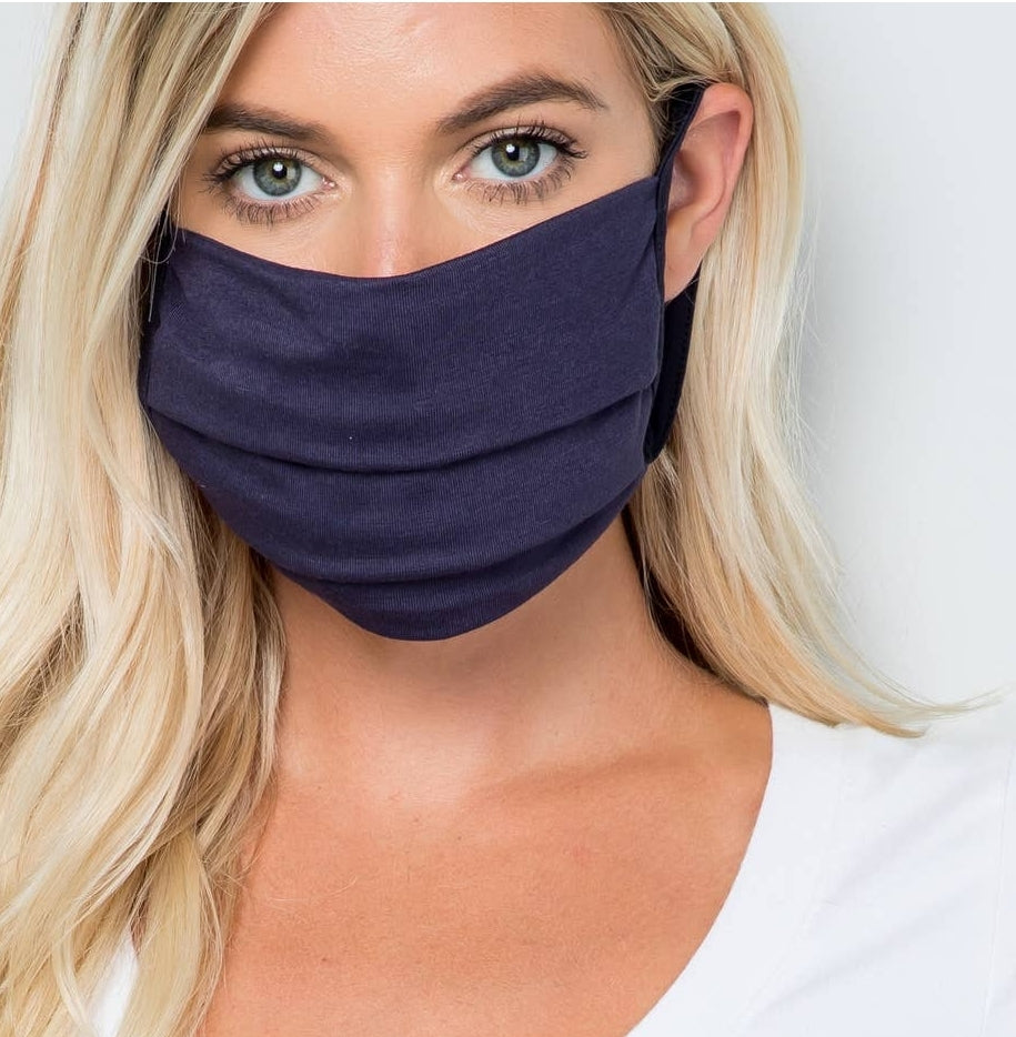Face Masks, Washable, Reusable, Tween/Adult Size - Solid Navy