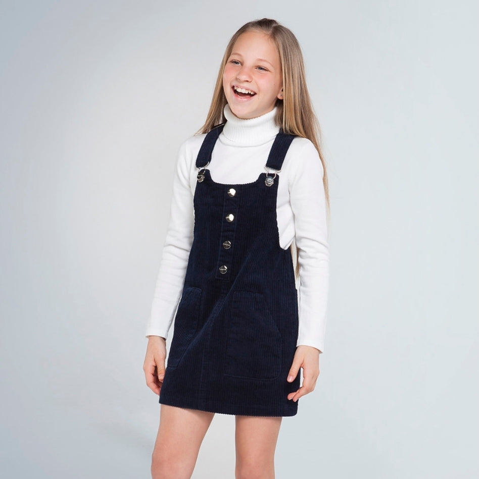 7955 Mayoral Teen Girls Corduroy Overall Dress- Midnight Blue