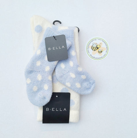 Cashmere & Virgin Wool Blend Mommy & Me Matching Socks, Dover Dots, Baby Blue