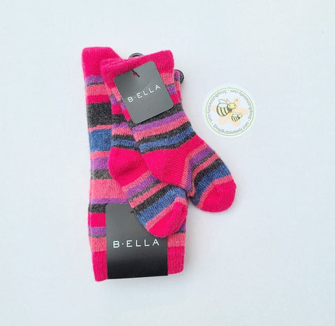 Cashmere & Virgin Wool Blend Mommy & Me Matching Socks, Dover Dots, Fuchsia Stripes