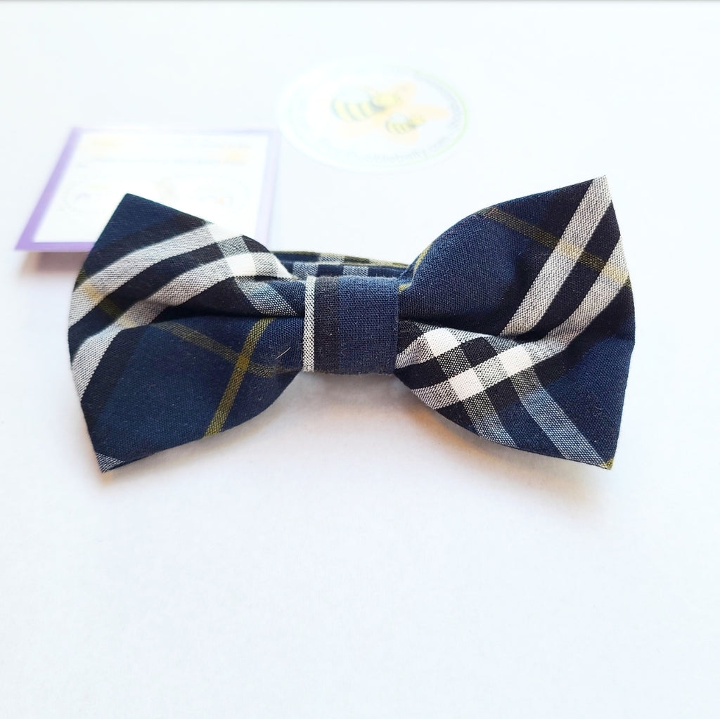 Boys Adjustable Bow Tie - Navy Plaid (Two Sizes)