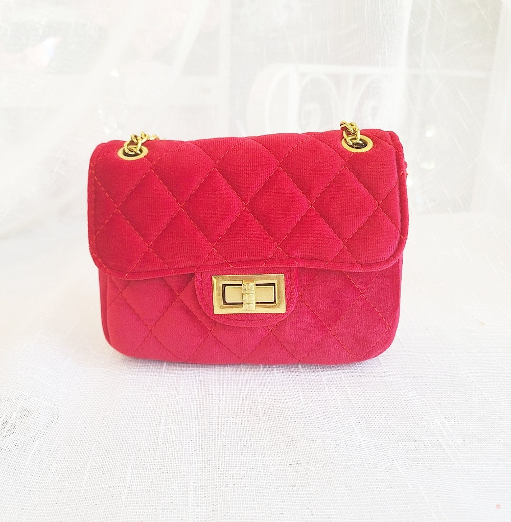 Accessories - Cross Body Velvet Quilted Mini Purse, Cherry Red