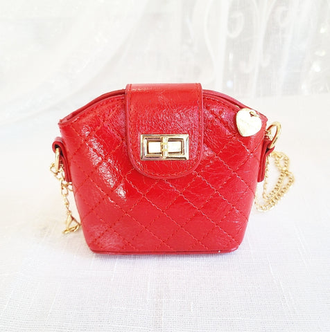 Accessories - Cross Body Leatherette Quilted Mini Purse, Cherry Red